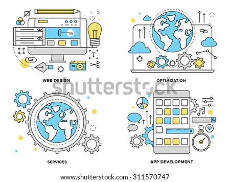 Flat line illustration set of internet business services, website building process, mobile phone apps development, web search optimization. Modern design vector concept, isolated on white background. - stock vector