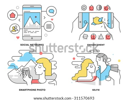 Flat line illustration set of romantic couple taking selfie on smartphone, selfportrait on mobile photo, editing and share on social network. Modern design vector concept, isolated on white background - stock vector