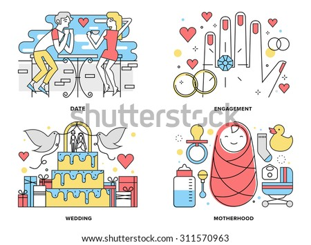 Flat line illustration set of start a happy family, couple first date romance, ring engagement and wedding ceremony, motherhood with newborn. Modern design vector concept, isolated on white background - stock vector