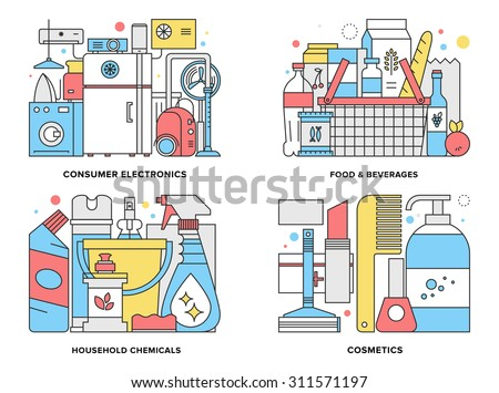 Flat line illustration set of supermarket consumer products such as home appliances, household chemicals, basket with foods, cosmetic goods . Modern design vector concept, isolated on white background - stock vector