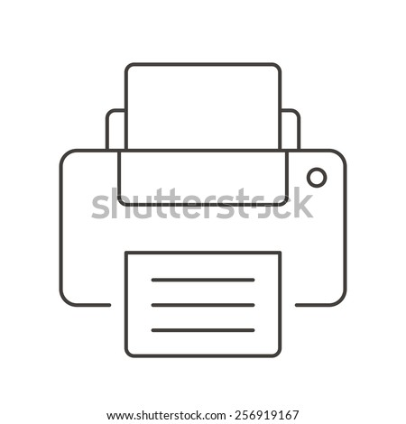 Flat line printer icon. Trend vector illustration. Isolated on white background. - stock vector