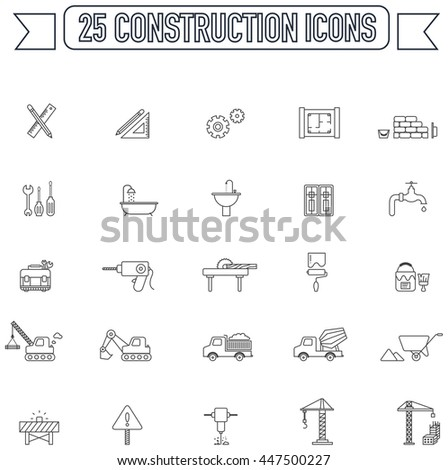 Flat line  silhouette engineering and construction site industry graphic tool equipment sign and symbol icon collection set 2, create by vector  - stock vector