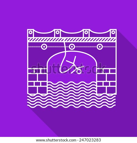 Flat line vector icon with white contour rope jumping action from arch bridge on purple background. Long shadow design. - stock vector