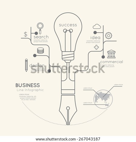 Flat linear Infographic Business Education Pen Tree with Light bulb Outline concept.Vector Illustration.  - stock vector