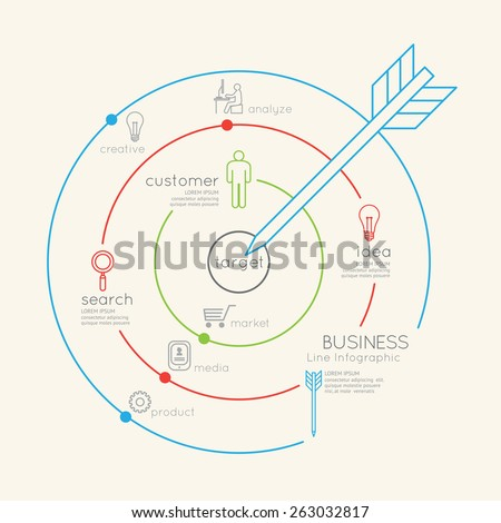 Flat linear Infographic Business Target outline concept.Vector Illustration.  - stock vector