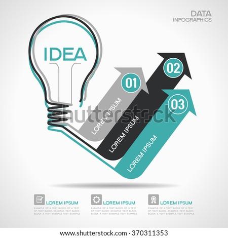 Flat linear infographic lamp ideas and arrows. Growth Arrow Four Pieces Bulb Idea - stock vector