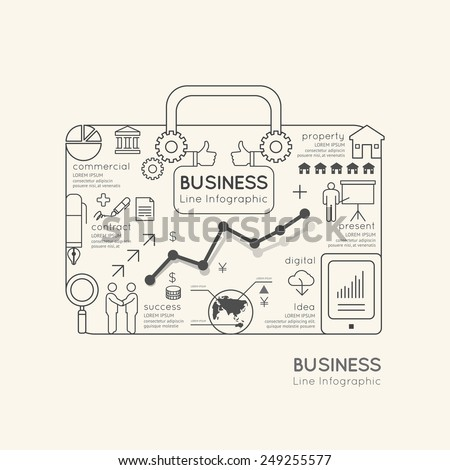 Flat linear Infographic World Business Bag Outline concept.Vector Illustration.  - stock vector