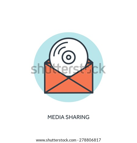 Flat lined compact disk icon. Email icon. Media sharing - stock vector