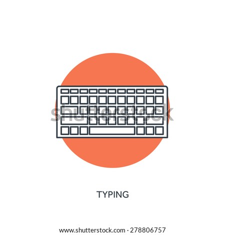 Flat lined keyboard icon. - stock vector