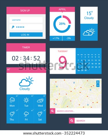 Flat Log in Template. Sign Up form - stock vector