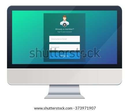 Flat Log in Template. Sign Up form. Desktop - stock vector