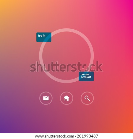 Flat Login Template and web icons - stock vector