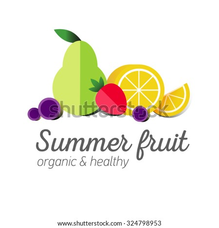 Flat logo or fruit symbol. Typography. Icon healthy diet. Stewed fruit. Green pear with strawberry, lemon slice and grapes. - stock vector