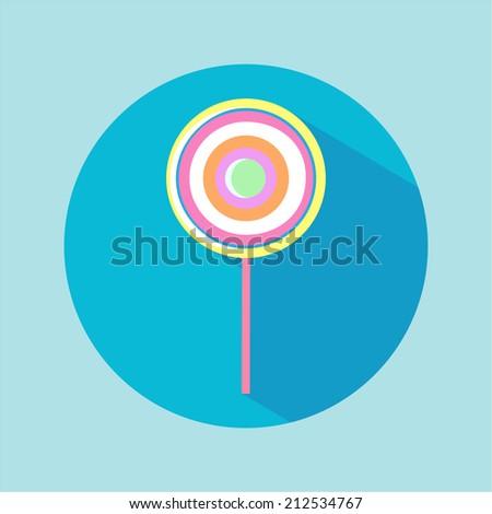 Flat lollipop candy. - stock vector