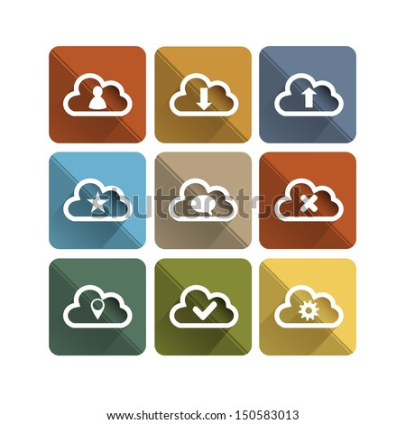 Flat long shadow cloud icons - stock vector