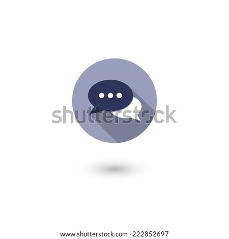 Flat long shadow icon of a communication with two speech bubble. Isolated on white background. Vector illustration, eps 10. - stock vector