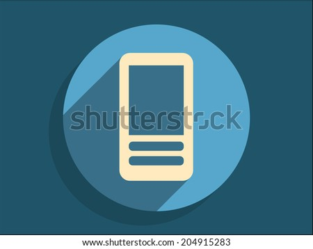 Flat long shadow icon of cellphone - stock vector
