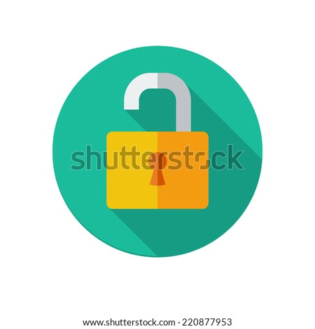 Flat long shadow opened lock icon isolated on white background - stock vector