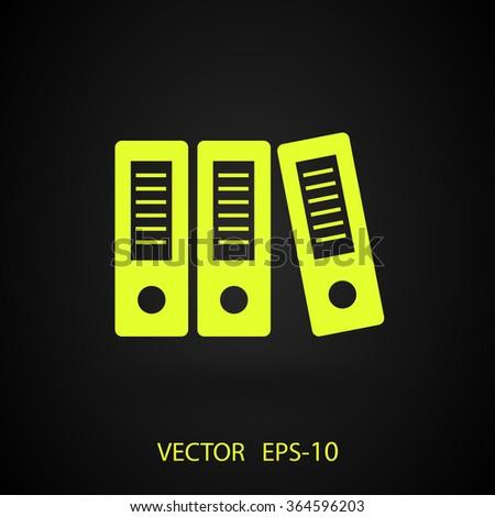 Flat long shadow Row of binders icon, vector illustration - stock vector