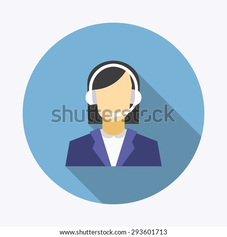 Flat long shadow vector icon of man and woman. Call center operators, female avatar icons. - stock vector