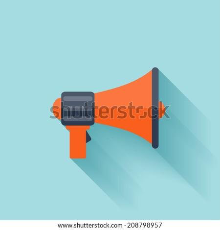 Flat loudspeaker icon. - stock vector