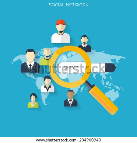 Flat loupe icon. Social media. Search engine optimization. Data finding. Content analyzing. - stock vector