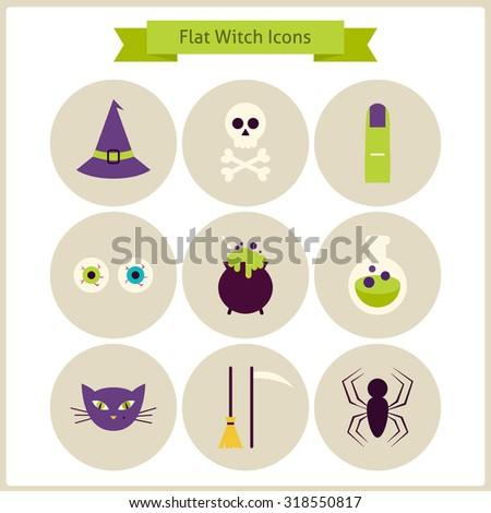 Flat Magic Witch Icons Set. Vector Illustration. Collection of October Holiday Halloween Party Colorful Circle Icons. Bundle of Tricks and Treats Items. Design Elements for Website Mobile Application - stock vector