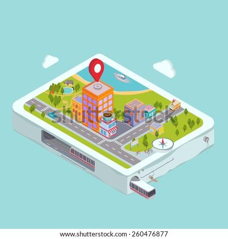 Flat map GPS navigation Isometric City Center  - stock vector