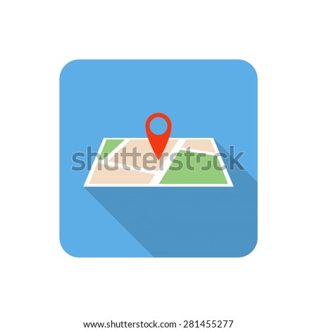 Flat map icon with long shadow. Vector illustration - stock vector