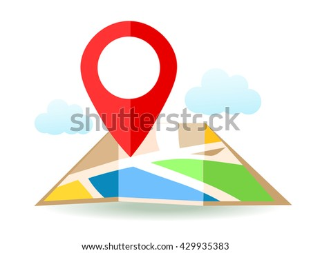 Flat map with pin. Vector location pointer icon. Markers on the Map. - stock vector