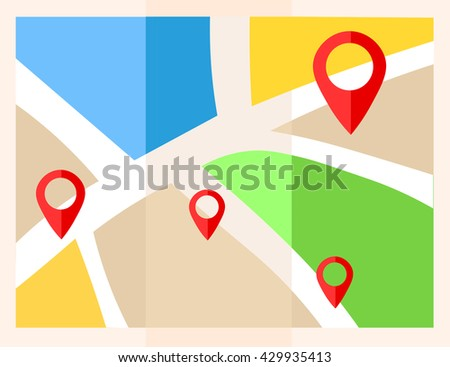 Flat map with pins. Vector location pointer icon. Markers on the Map. - stock vector