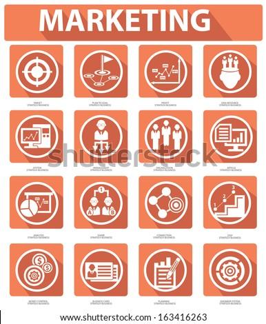 Flat Marketing Icons,orange version,vector - stock vector