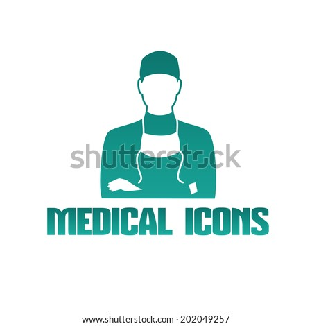 Flat medical icon with male doctor surgeon - stock vector