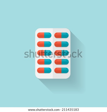 Flat medical pills icon. Tablets symbol. Health care. - stock vector