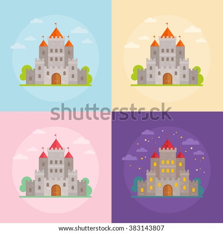 Flat medieval castles set with clouds, trees and night scene - stock vector