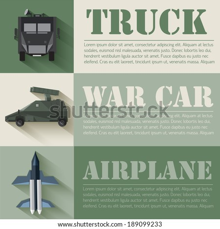 flat military transport set design concept. Vector illustration infographic - stock vector