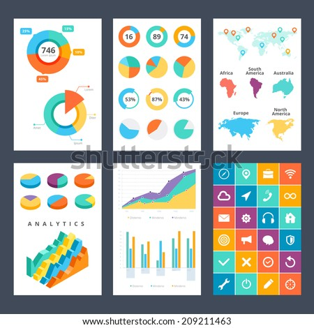 Flat mobile interface design. Ui kit  infographics set. - stock vector