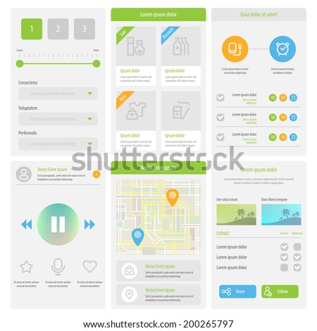 Flat Mobile UI Design. Set of flat web elements, icons and buttons for mobile app and web design. Vector eps 10. - stock vector
