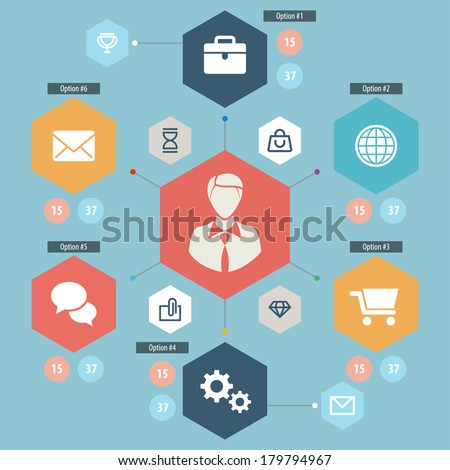 Flat Mobile UI Design. Set of modern vector icons and symbols on business management or analytics and e-commerce theme. Eps 10. - stock vector