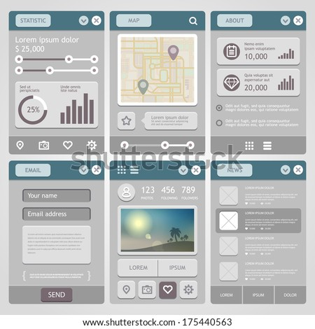 Flat Mobile UI Design. Vector eps 10. - stock vector