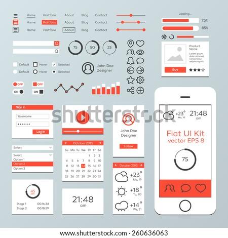 Flat Mobile Web UI Kit - stock vector