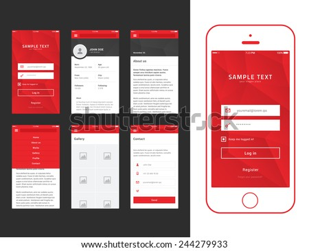 Flat Mobile Web UI with Smartphone Mockup / EPS10 Vector Illustration /  - stock vector