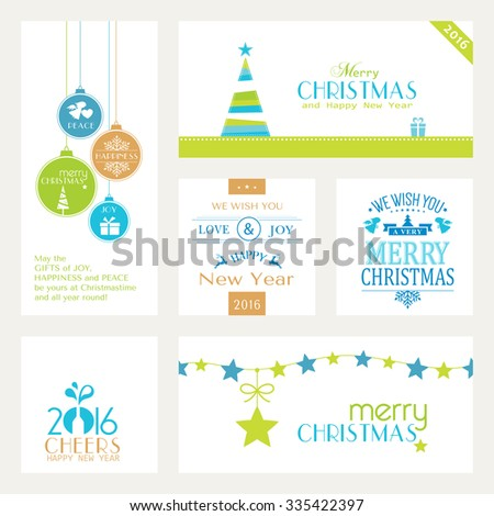 Flat, modern Christmas and Happy New Year banners isolated on white with baubles, Christmas trees and sayings for the festive Christmas and New Years season to come. - stock vector