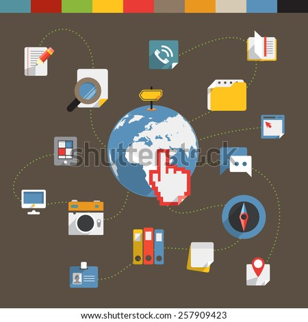 Flat modern color web connection concept - stock vector