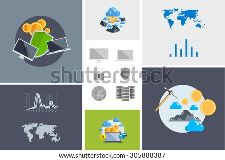 Flat modern design vector illustration and icon. Concept electronic commerce. Bitcoin mining. Cloud technology. Virtual money. Infographic Element. Network Earnings. Digital World map, graph, diagram. - stock vector