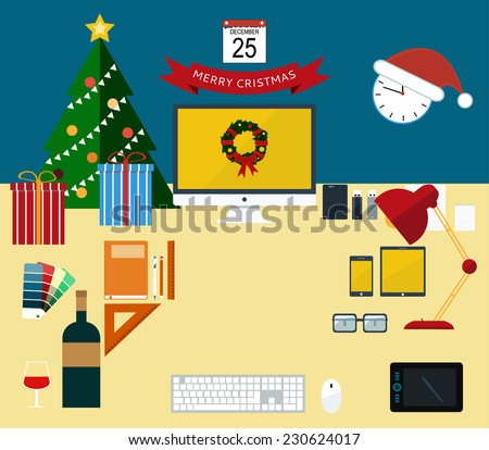 Flat modern design vector illustration concept of creative office workspace, workplace.  Christmas and New Year office decoration. Icon collection of business work flow items and elements, equipment - stock vector