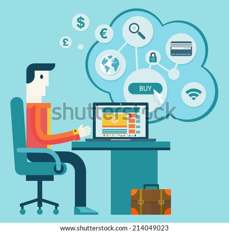 Flat modern design vector illustration concept of creative office workspace, workplace, procces of online shopping.  Icon collection in stylish colors of business work - stock vector