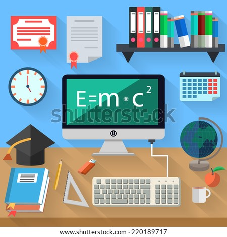 Flat modern design vector illustration concept of distance learning and online education, workplace. Icon collection in stylish colors of learning work flow items. - stock vector