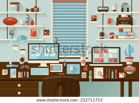 Flat modern design vector illustration concept of office workspace, workplace, desktop. Business work flow items, essentials, things, equipment, elements, objects, development tools. Room interior - stock vector