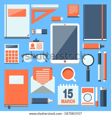Flat modern design vector stylish illustration concept with icons of office equipment and tools. Collection in stylish colors of business work flow items and elements. Workspace.  - stock vector